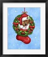 Framed Christmas Stocking Puppy