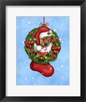 Framed Christmas Stocking Puppy