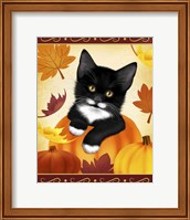 Framed Falling Leaves Cat