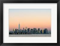 Framed Manhattan Skyline At Sunset