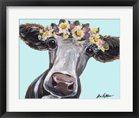 Framed Cow Cora Flower Crown Blue