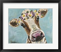 Framed Cow Miss Moo Moo Turquoise Flower Crown