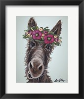 Framed Donkey Rufus 1 Pink Flowers