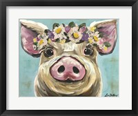 Framed Pig Rosie Flower Crown 3