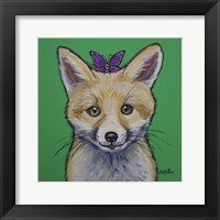 Framed Fox With Butterfly