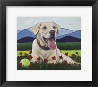 Framed Yellow Lab 'Happy Place'