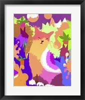 Framed Cat With Abstract Background