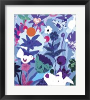 Framed Blue Floral With Dog And Bird