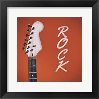 Framed Guitar Head Illustration Red Rock
