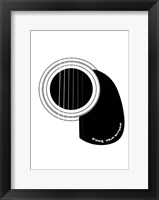 Framed Black and White Minimalist Guitar D