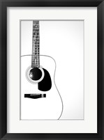 Framed Black and White Classic Guitar,