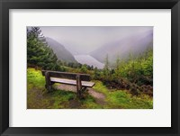 Framed Bench Over the Upper Lake in Glendalough Ireland