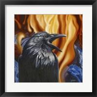 Framed Raven Fire