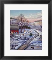 Framed Winter Farm