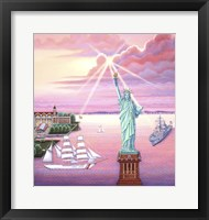 Framed Statue of Liberty Sunset