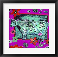 Framed Cosmic Green Cow