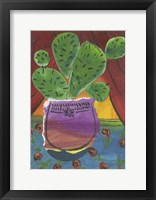 Framed Prickly Pear in Purple Pot