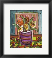 Framed Flowers in Purple Pot