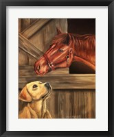 Framed Labrador Retriever And Horse Barn