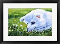 Framed Making A Wish White Dog