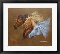 Framed Three Horse Heads Running