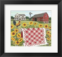 Framed Red & White Farm Quilt