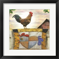 Framed Rooster and Quilt