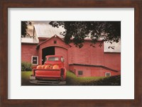 Framed Red Pumpkin Truck