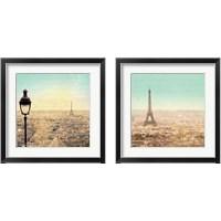 Framed Eiffel Landscape Letter Blue 2 Piece Framed Art Print Set