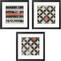 Framed Geometric Patchwork Puree Pumpkin Square 3 Piece Framed Art Print Set