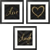 Framed Chevron Sentiments Gold Heart Trio 3 Piece Framed Art Print Set