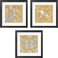 Framed Color My World Gold 3 Piece Framed Art Print Set