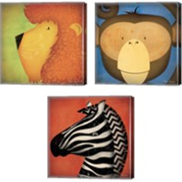 Framed Animal WOW 3 Piece Canvas Print Set