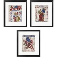 Framed Retro Patriotic 3 Piece Framed Art Print Set