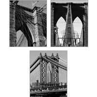 Framed Bridges of NYC 3 Piece Art Print Set