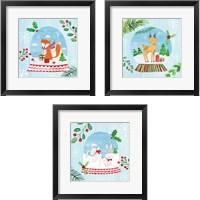 Framed Snow Globe Animals 3 Piece Framed Art Print Set