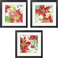 Framed Poinsettia Pretty 3 Piece Framed Art Print Set