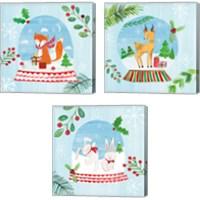 Framed Snow Globe Animals 3 Piece Canvas Print Set