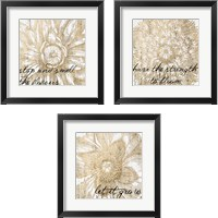 Framed Metallic Floral Quote 3 Piece Framed Art Print Set