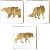 Framed Brushed Gold Animals 3 Piece Canvas Print Set