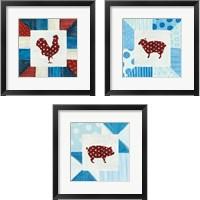 Framed Modern Americana Farm Quilt  3 Piece Framed Art Print Set
