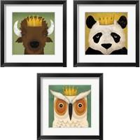 Framed Animal with Crown 3 Piece Framed Art Print Set
