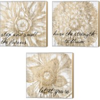 Framed Metallic Floral Quote 3 Piece Canvas Print Set