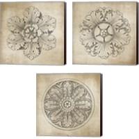 Framed Rosette Neutral 3 Piece Canvas Print Set