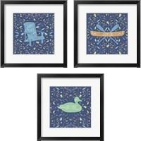Framed Otomi Lake Dark 3 Piece Framed Art Print Set