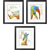 Framed Colorful Safari Animals 3 Piece Framed Art Print Set