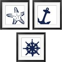 Framed Coastal Navy on White 3 Piece Framed Art Print Set