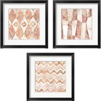 Framed Red Earth Textile 3 Piece Framed Art Print Set