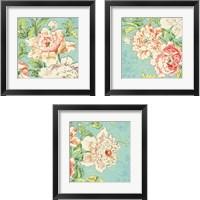 Framed Cottage Roses Bright 3 Piece Framed Art Print Set