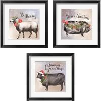 Framed Vintage Christmas Be Merry  3 Piece Framed Art Print Set